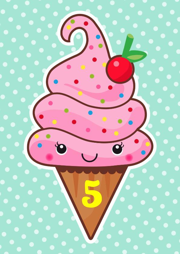 Verjaardagskaarten - Verjaardag retro ijsje