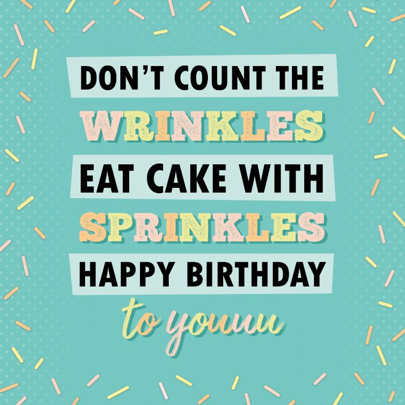 Verjaardagskaarten - Verjaardag rimpels en sprinkles