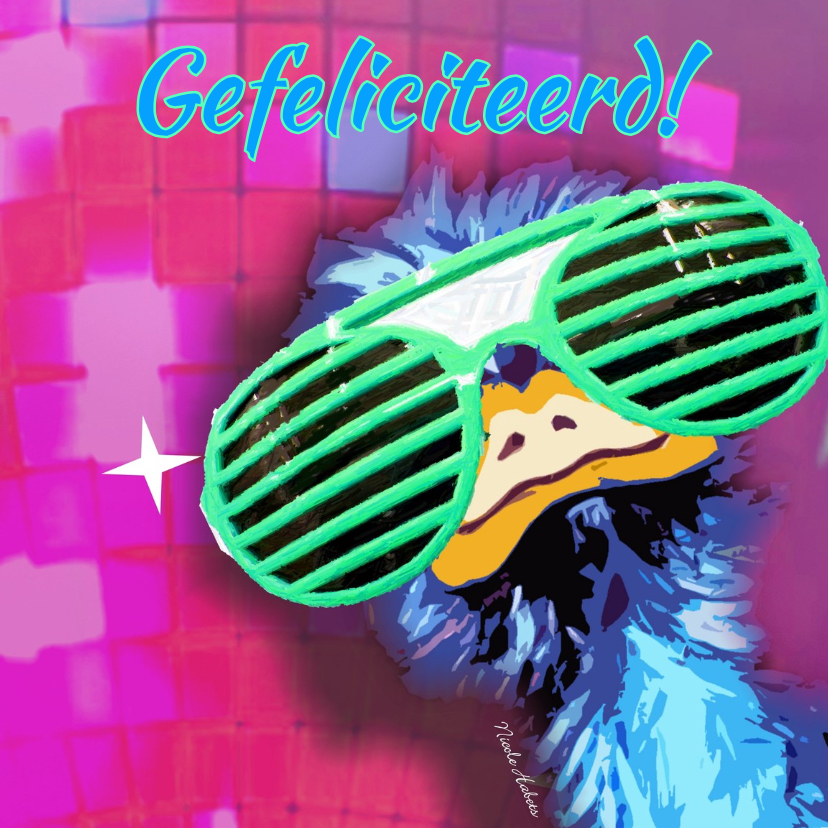 Verjaardagskaarten - Verjaardag roze struisvogel  cool