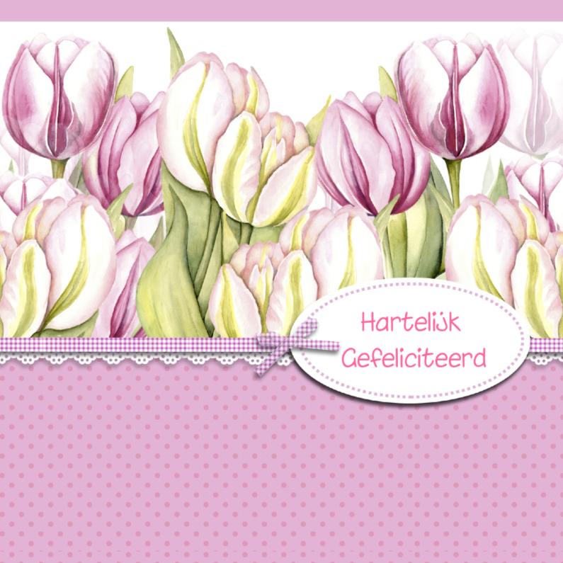 Verjaardagskaarten - Verjaardag roze tulpen