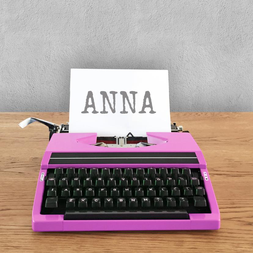 Verjaardagskaarten - Verjaardag - Roze typemachine