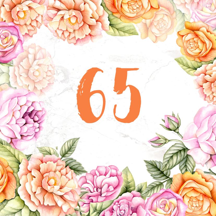 Verjaardagskaarten - Verjaardag rozen aquarel