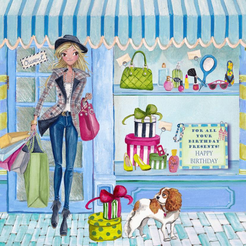 Verjaardagskaarten - Verjaardag Shoppen Fashion Girl