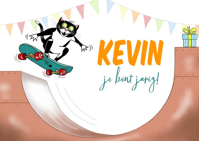 Verjaardagskaarten - Verjaardag - skateboard kat