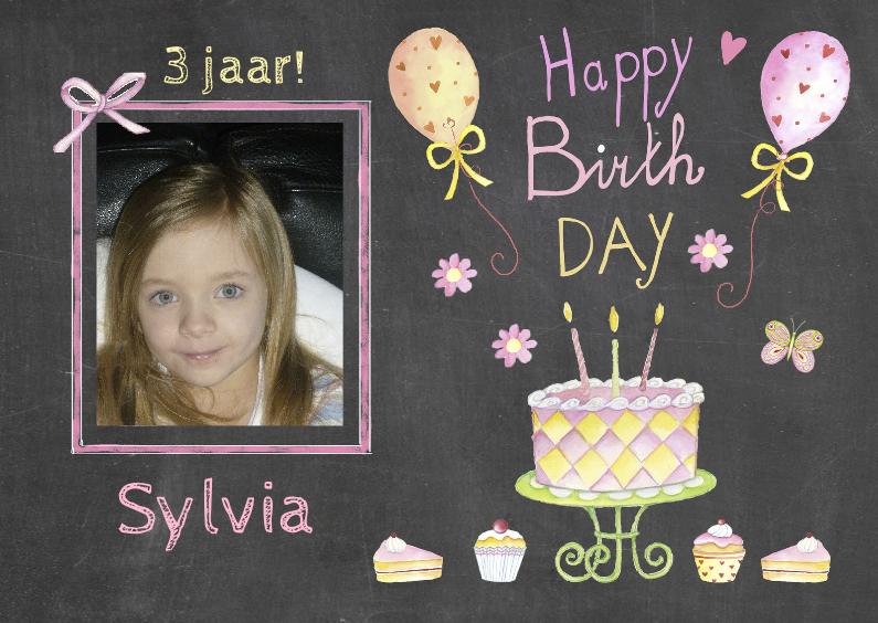 Verjaardagskaarten - verjaardag taart balonnen