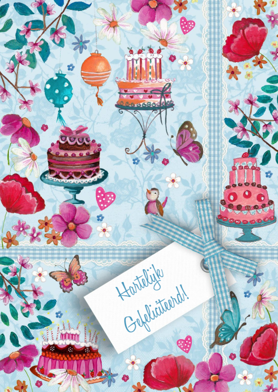 Verjaardagskaarten - Verjaardag Taart Bloemen Strik