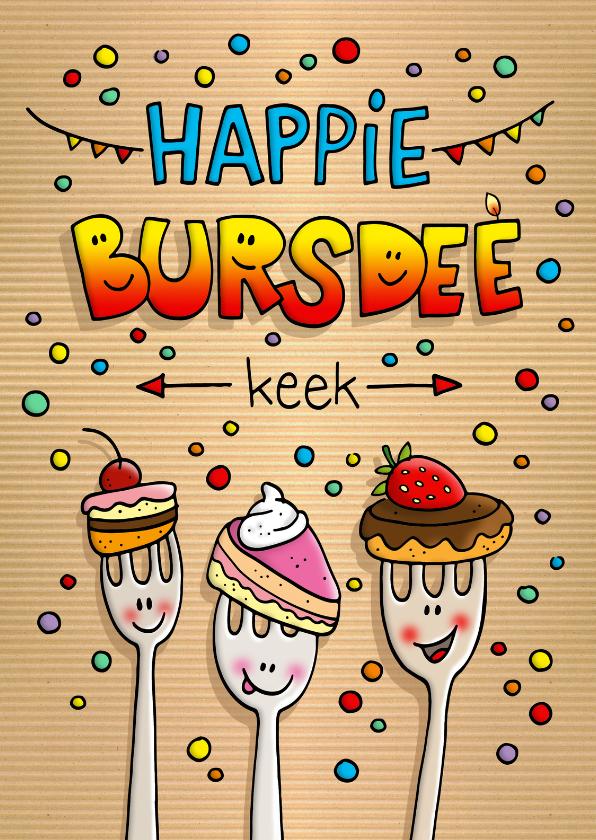 Verjaardagskaarten - Verjaardag taart vorkjes