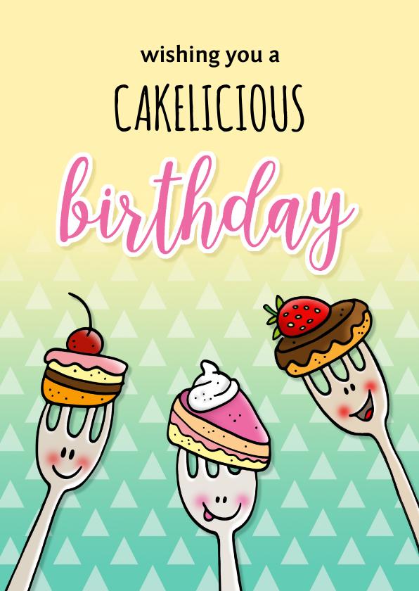 Verjaardagskaarten - Verjaardag taartvorkjes met cake woordgrap