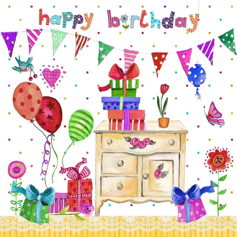 Verjaardagskaarten - Verjaardag tafel kado ballonnen