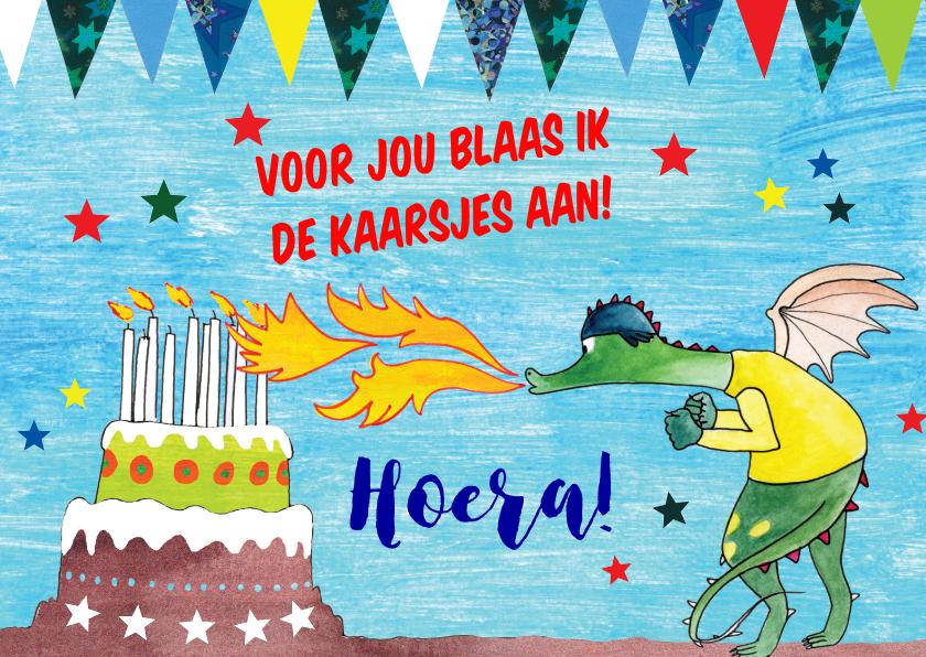 Verjaardagskaarten - verjaardag tekening draak blaast aan