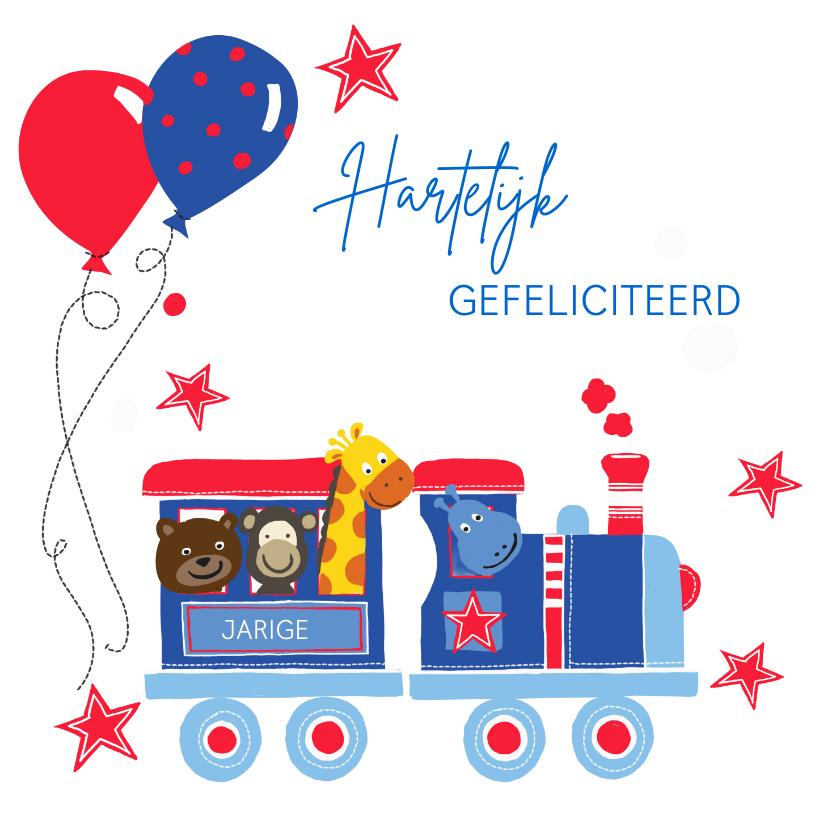 Verjaardagskaarten - Verjaardag treintje dieren