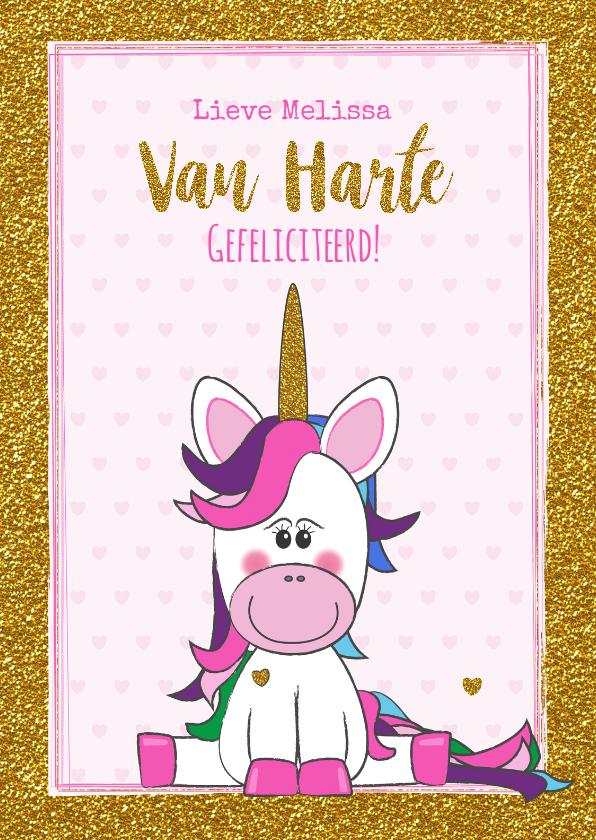 Verjaardagskaarten - Verjaardag trendy gouden glitter kaart met vrolijke Unicorn