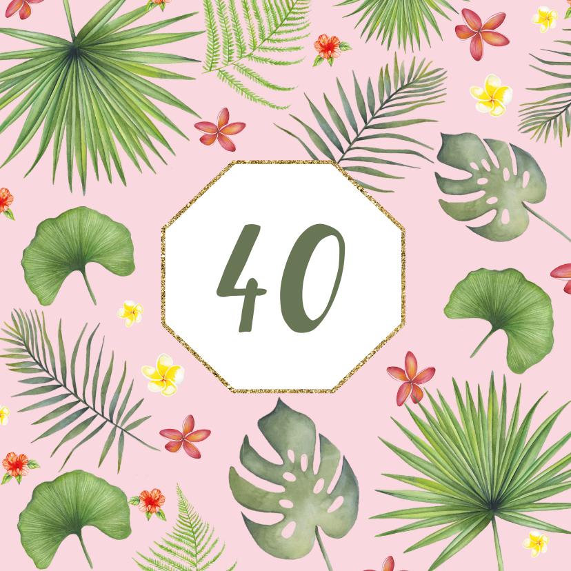 Verjaardagskaarten - Verjaardag tropisch blad