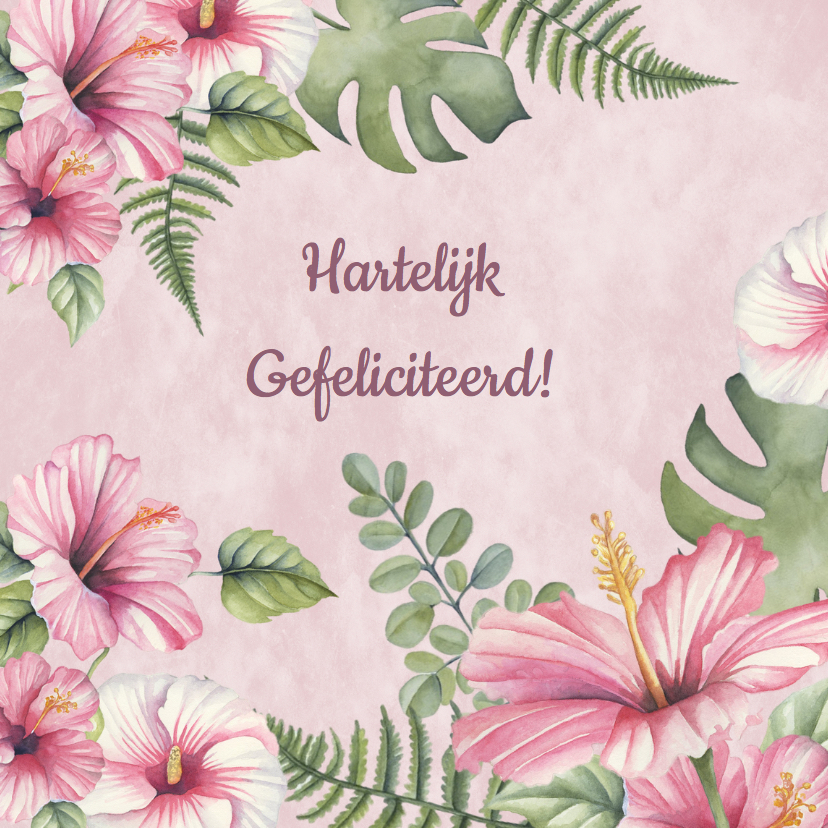 Verjaardagskaarten - Verjaardag tropische bloemen