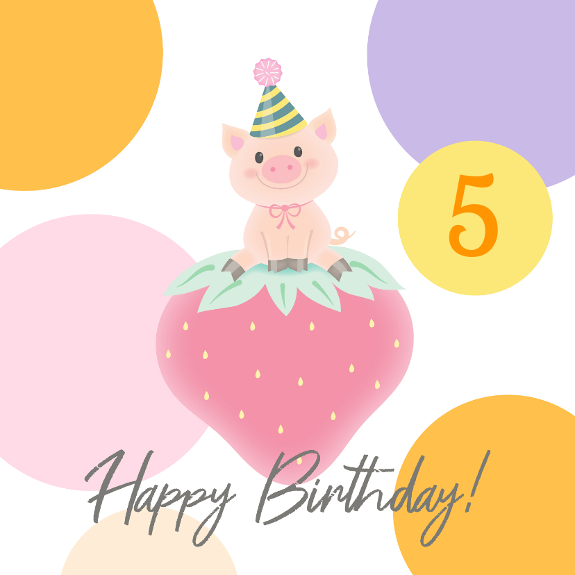 Verjaardagskaarten - Verjaardag Varkentje aardbei