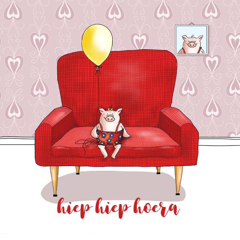 Verjaardagskaarten - Verjaardag - varkentje in rode stoel