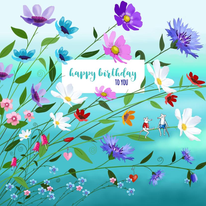 Verjaardagskaarten - Verjaardag - Veel bloemen en twee muisjes