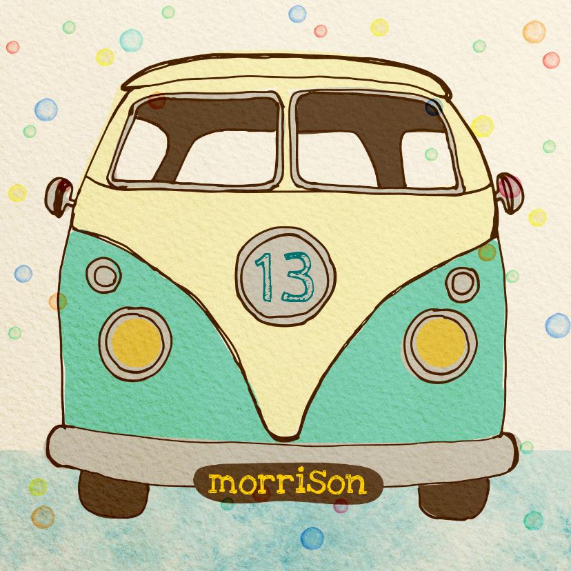 Verjaardagskaarten - Verjaardag vintage busje blauw