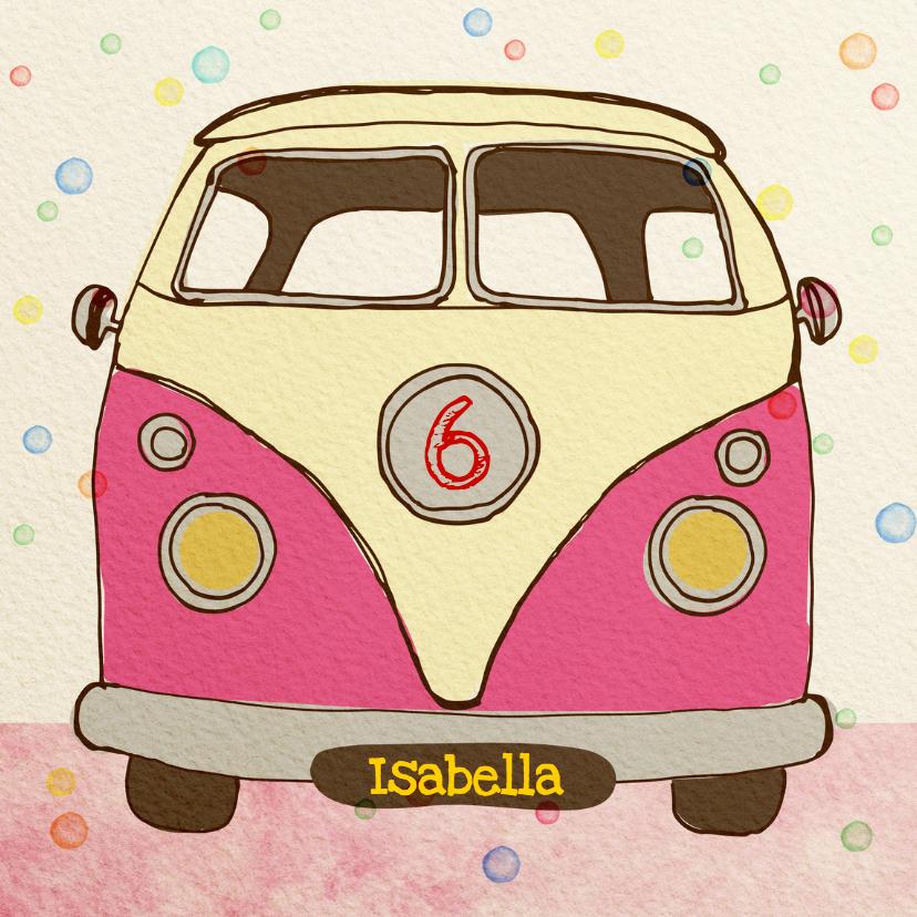 Verjaardagskaarten - Verjaardag Vintage busje Pink