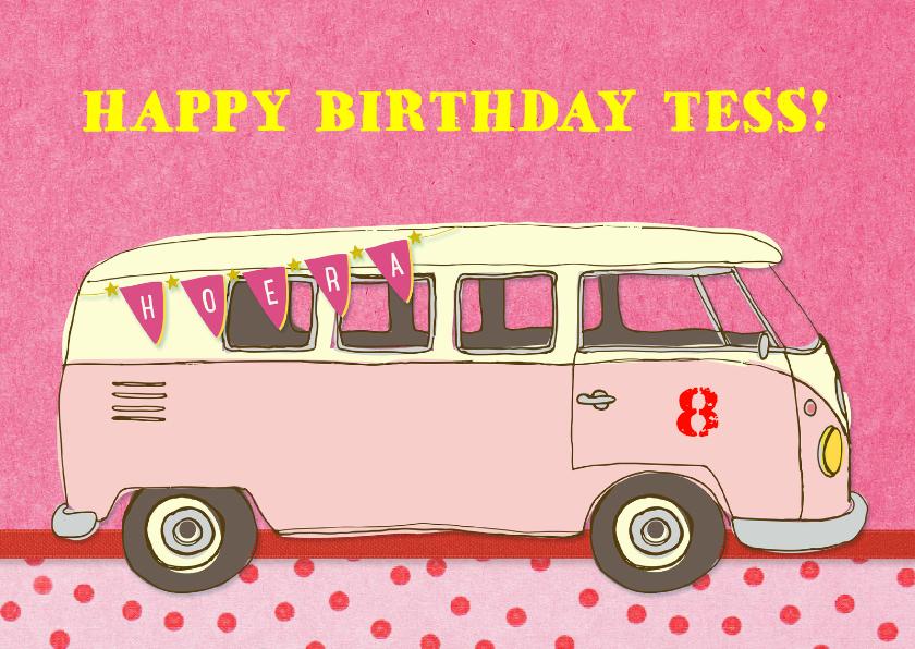 Verjaardagskaarten - Verjaardag Vintage Busje Roze