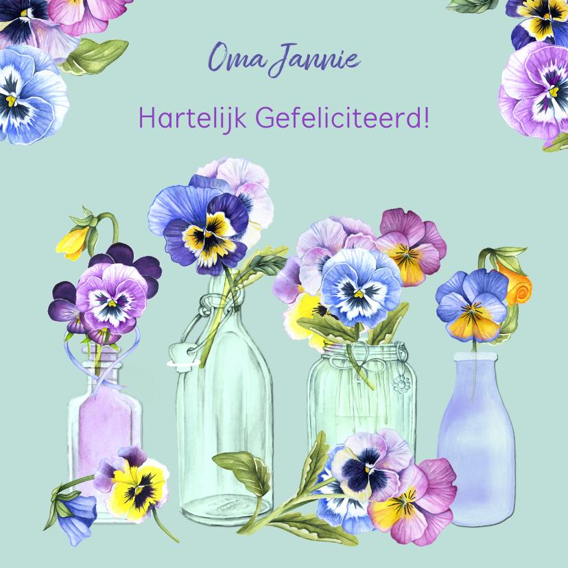 Verjaardagskaarten - Verjaardag viooltjes in vaasjes