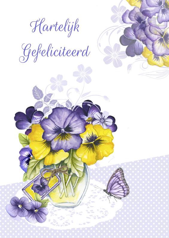 Verjaardagskaarten - verjaardag viooltjes vaasje