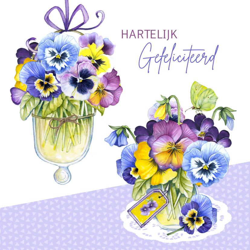 Verjaardagskaarten - verjaardag viooltjes vaasjes