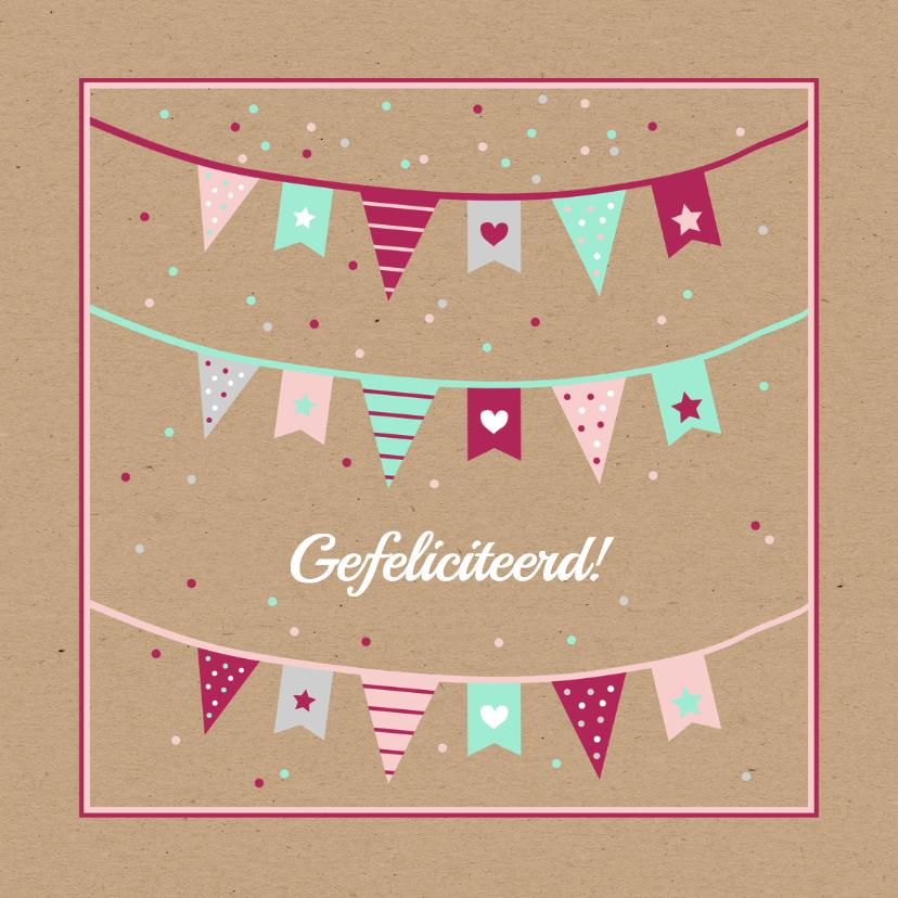 Verjaardagskaarten - Verjaardag - Vlaggetjes en confetti