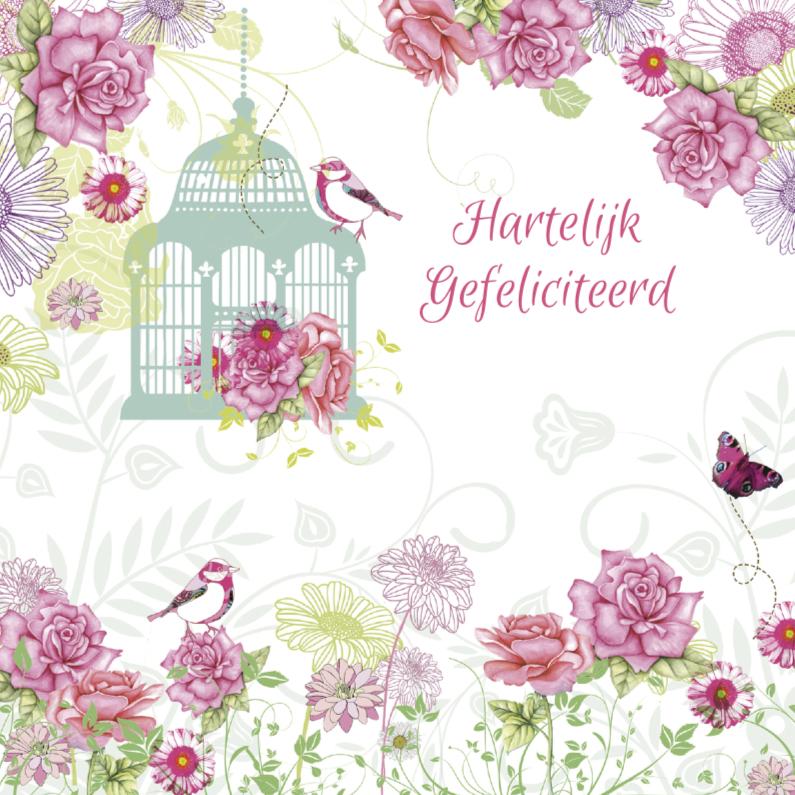 Verjaardagskaarten - Verjaardag vogelhuisje bloemen