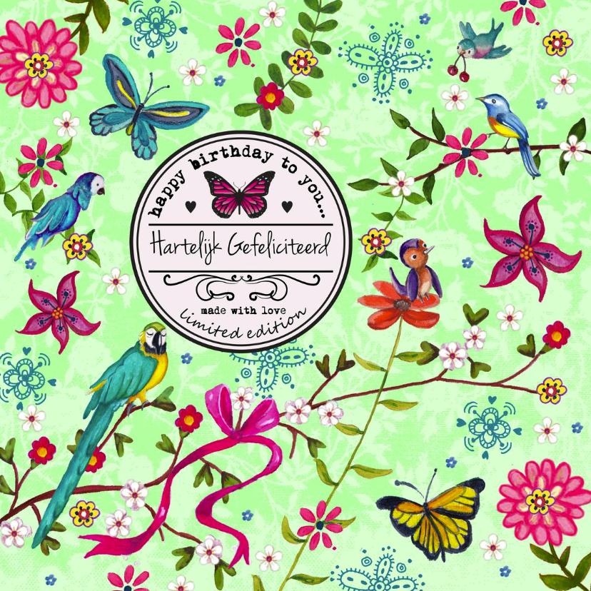 Verjaardagskaarten - Verjaardag Vogels Bloem Vlinder