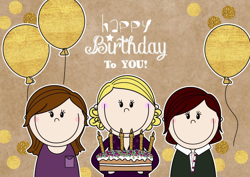 Verjaardagskaarten - Verjaardag vrolijke meiden met taart
