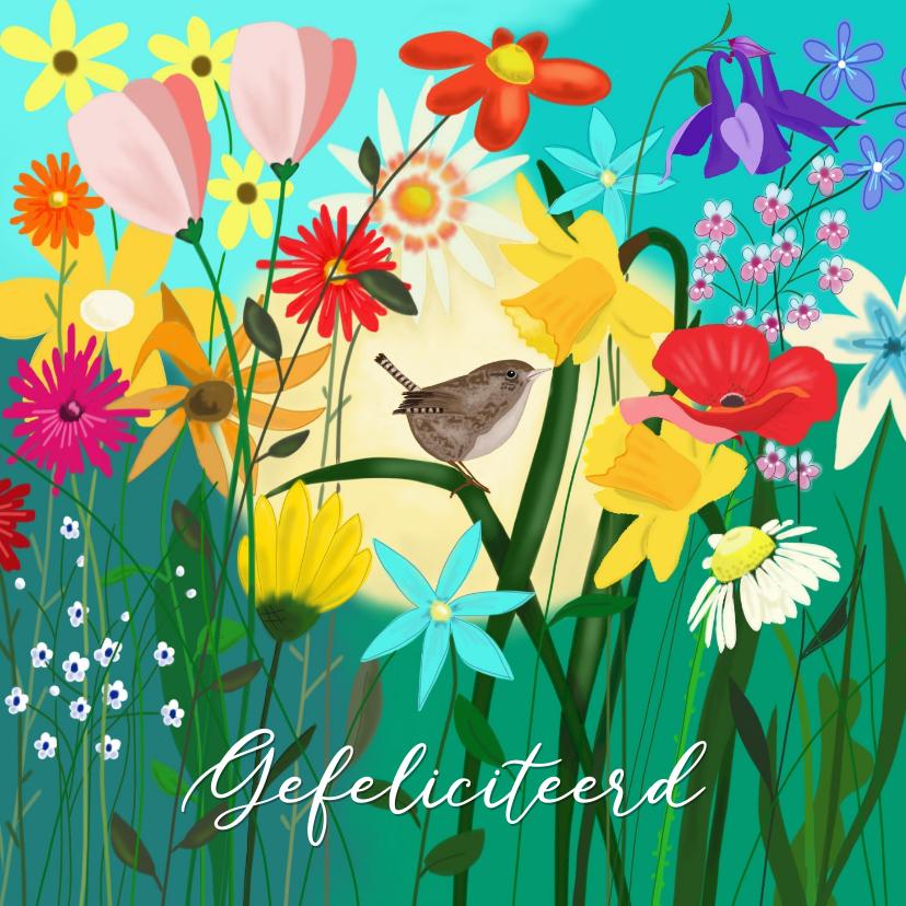 Verjaardagskaarten - Verjaardag - winterkoninkje tussen de bloemen