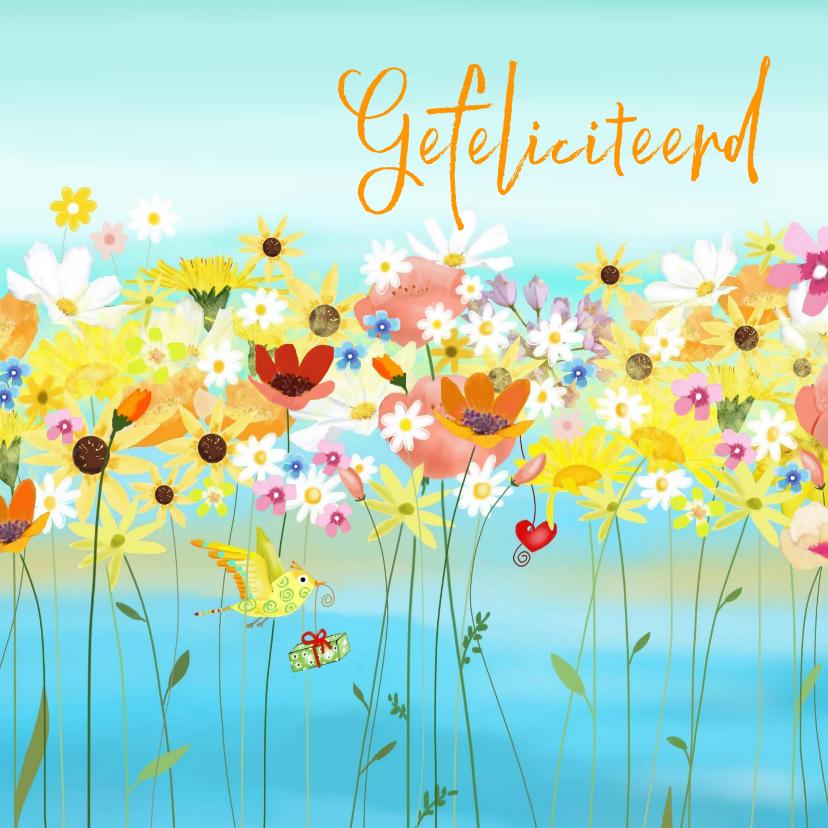 Verjaardagskaarten - Verjaardag - Zomerbloemen en kleine vogeltjes