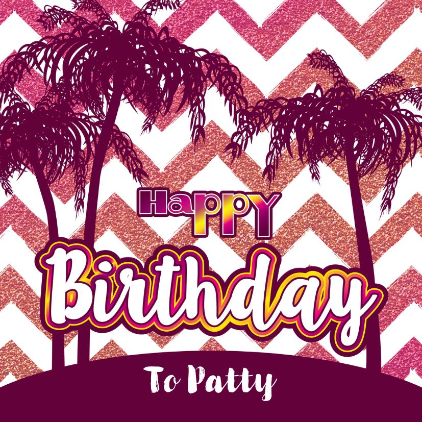 Verjaardagskaarten - Verjaardag zomerse  felicitatie glitter glamour en palmbomen