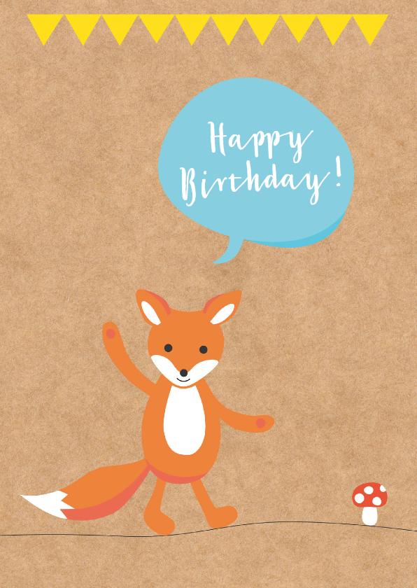 Verjaardagskaarten - Verjaardag-Zwaaiend Vosje-HK