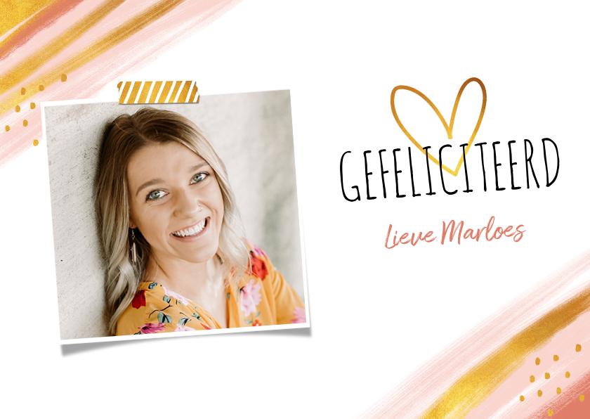 Verjaardagskaarten - Verjaardagkaart felicitatie vrouw abstract goud hartje