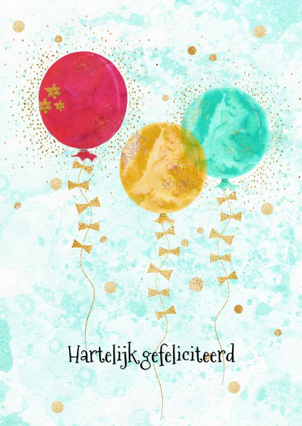 Verjaardagskaarten - Verjaardagkaart glitters en ballonnen
