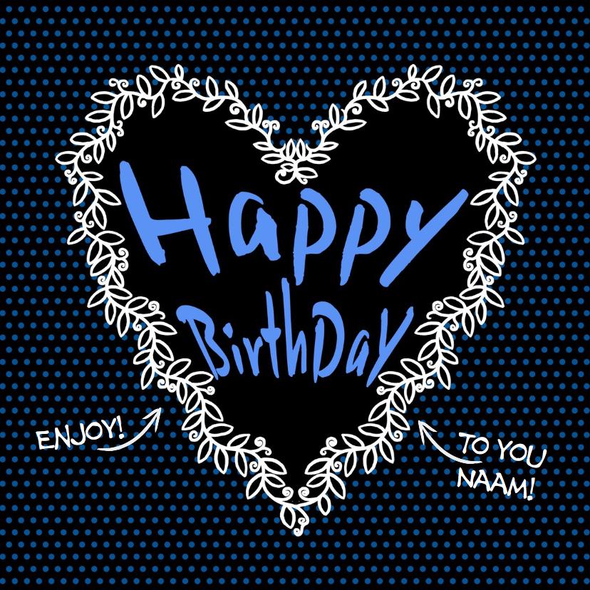 Verjaardagskaarten - Verjaardagkaart hart en lauwerkrans op zwarte achtergrond