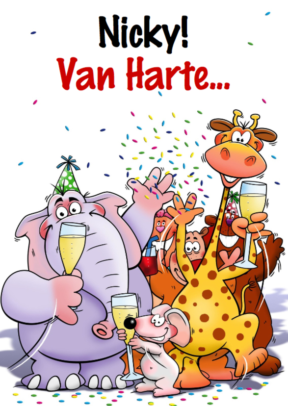 Verjaardagskaarten - Verjaardagkaart met grappige dieren met glazen champagne