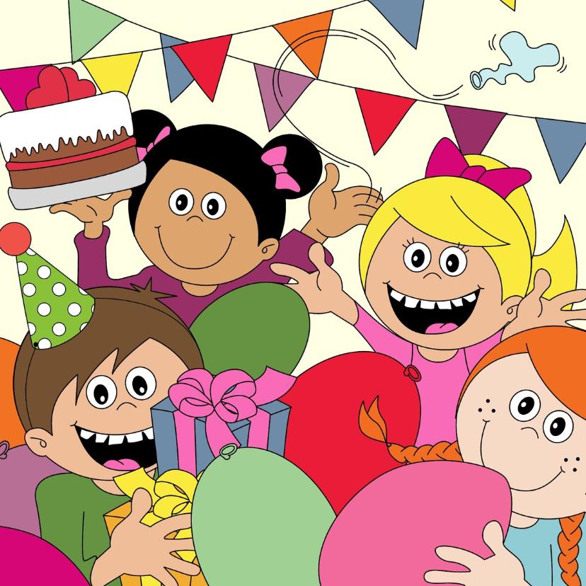 Verjaardagskaarten - Verjaardagsfeestje met ballonnen