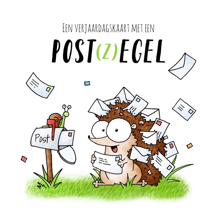 Verjaardagskaarten - Verjaardagsfelicitatie - kaartje met een post(z)egel