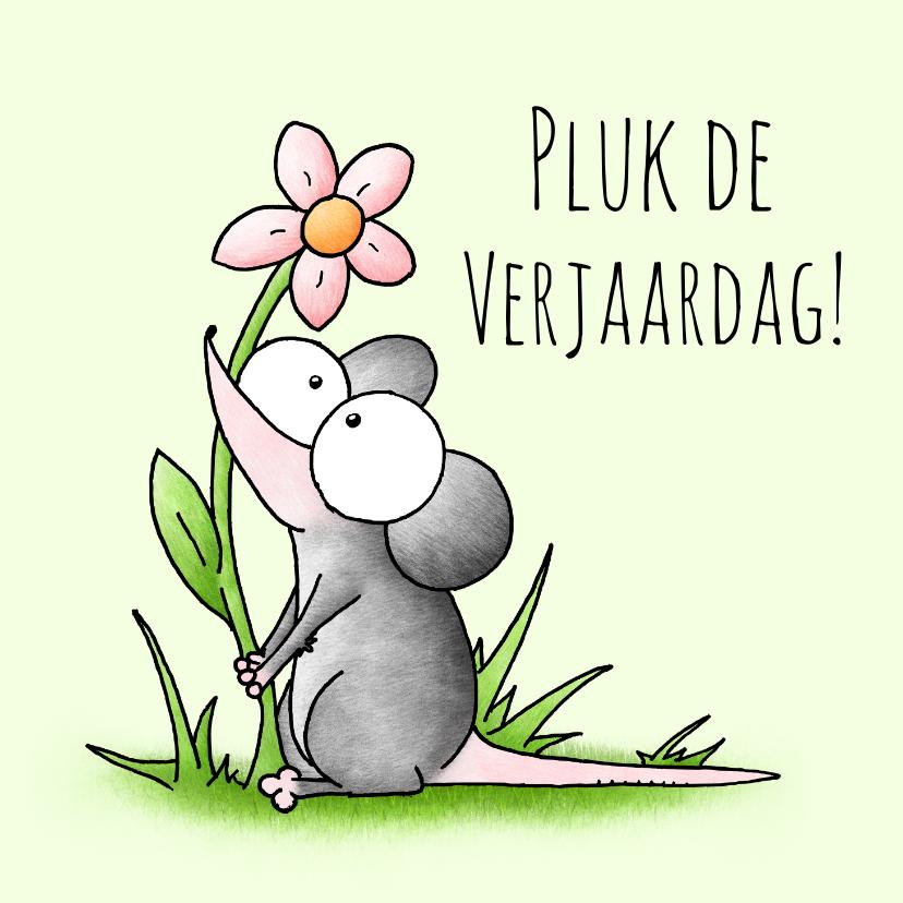 Verjaardagskaarten - Verjaardagsfelicitatie muis - Pluk de verjaardag!