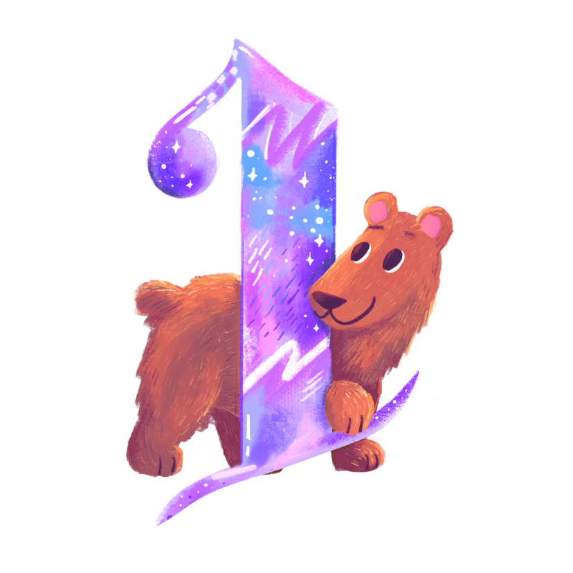 Verjaardagskaarten - Verjaardagskaart 1 jaar beer