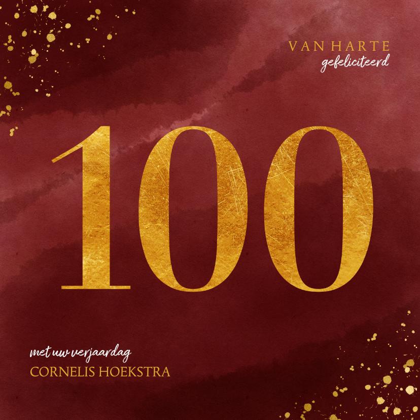 Verjaardagskaarten - Verjaardagskaart 100 jaar gouden spetters op waterverf