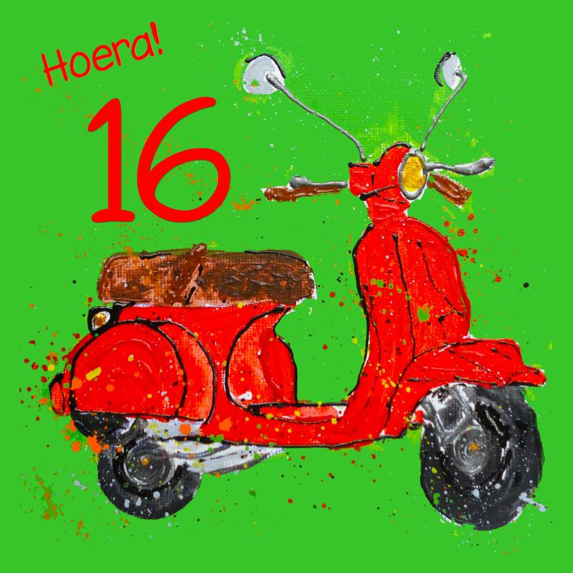 Verjaardagskaarten - Verjaardagskaart 16 jaar met scooter