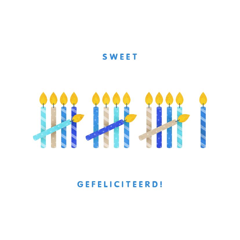 Verjaardagskaarten - Verjaardagskaart 16 kaarsjes blauw