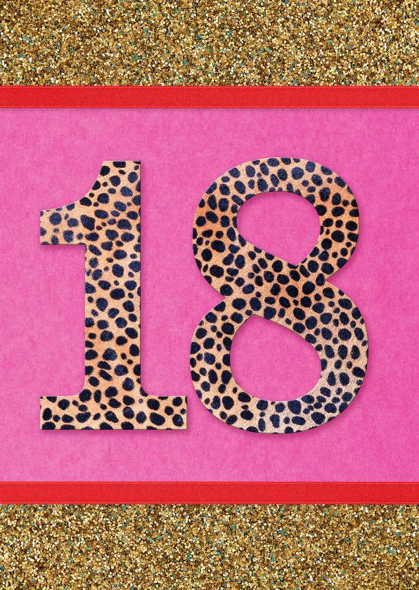 Verjaardagskaarten - Verjaardagskaart 18 glitter
