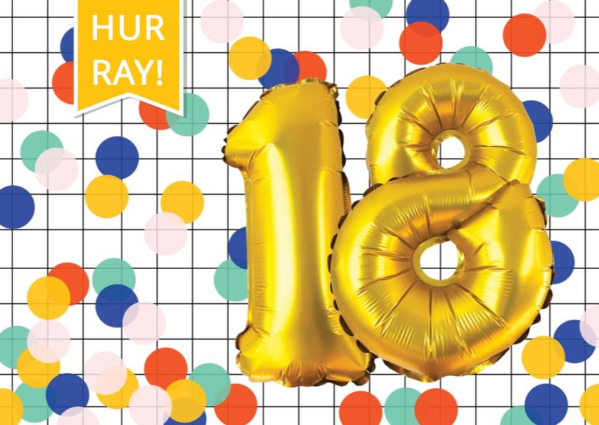 Verjaardagskaarten - Verjaardagskaart 18 jaar met confetti en ballonnen goud