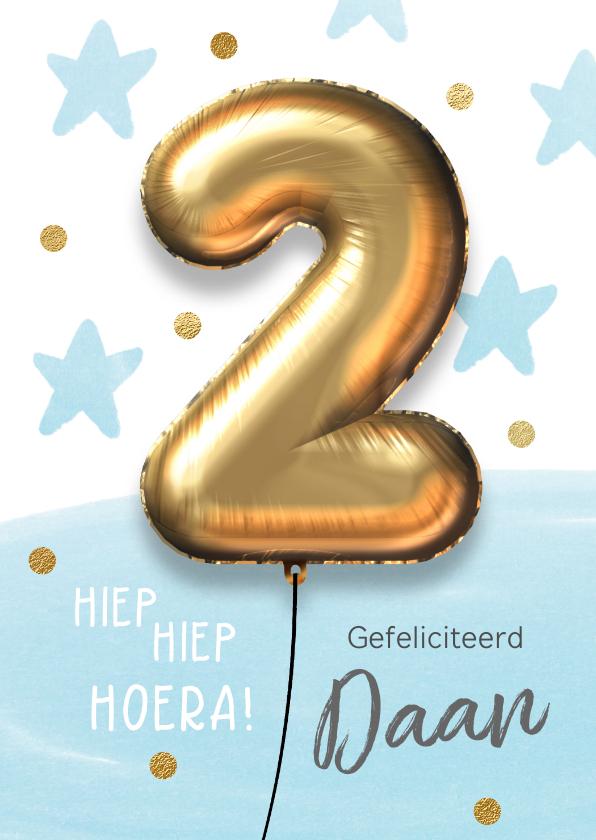 Verjaardagskaarten - Verjaardagskaart 2 jaar ballon blauw jongen
