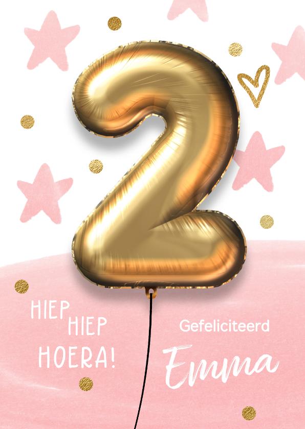 Verjaardagskaarten - Verjaardagskaart 2 jaar ballon roze